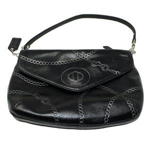 Coach Wristlet in Black Leather with Chain Design